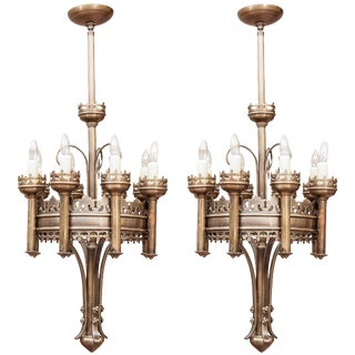 Gothic Style Eight Light Brass Chandeliers - a Pair For Sale