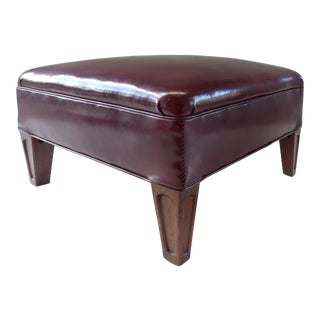 1940's Burgundy Leather Footstool Ottoman