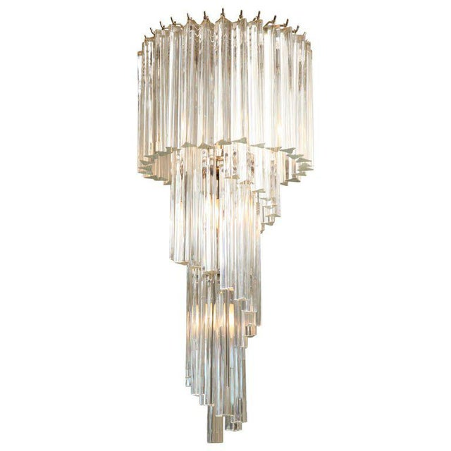 Transparent Italian Murano Spiral Crystal Glass Prism Chandelier by Venini For Sale - Image 8 of 8