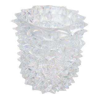 Enormous Signed Sinoretto Murano Iridescent Clear Glass Spiked Vase For Sale