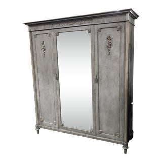 1910s Vintage French Louis XVI Painted Triple Door Armoire For Sale