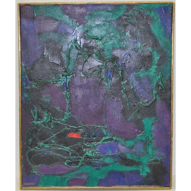 1960s Mid-Century Modern Abstract Oil Painting by Kasdan For Sale - Image 5 of 5