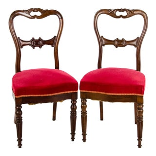 Late 19th Century Vintage French Balloon Back Occasional Chairs- A Pair For Sale
