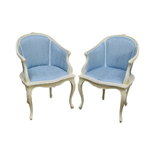 French Louis XV Style Custom White Painted Blue Upholstered Bergere Chairs - A Pair