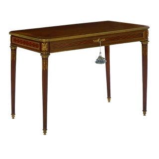 Circa 1900 French Louis XVI Style Antique Writing Table Desk Bureau Plat by Schmit Et Cie For Sale
