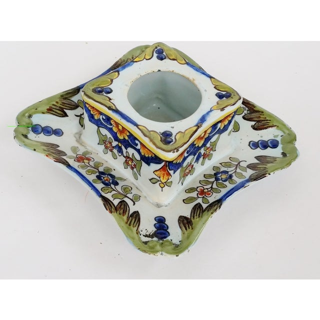 Blue 19th C French Faience Inkwell For Sale - Image 8 of 8