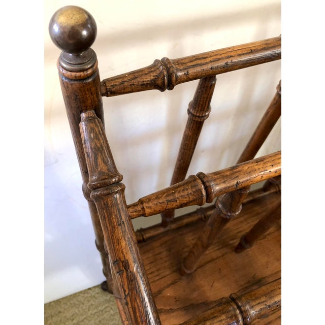 Mid 20th Century Faux Bamboo Canterbury Magazine/File/Lp Rolling Rack For Sale - Image 5 of 10
