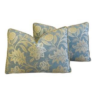 "Gp & J Baker Damask & Velvet Feather/Down Pillows 25"" X 18"" - Pair For Sale"