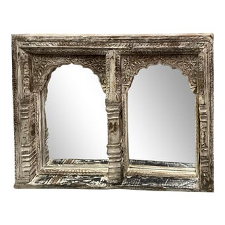 Vintage 1920s Traditional Natural Reclaimed Rustic Hand Carved Jharokha Arch White Wash Wall Mirror For Sale