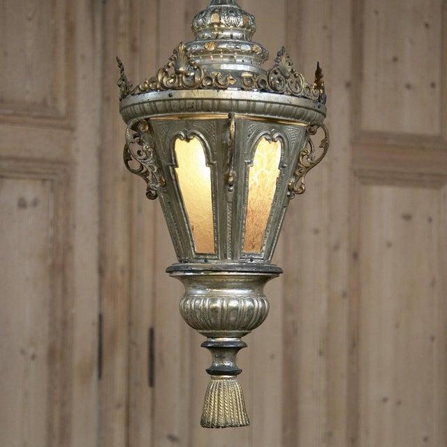 19th Century Venetian Silvered Brass Lantern Chandelier For Sale In Dallas - Image 6 of 9
