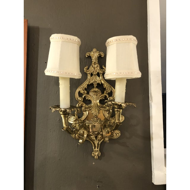 Louis XV Style Cast Bronze 2 Branch Wall Sconces -Pair For Sale In Philadelphia - Image 6 of 9