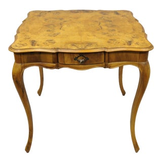 French Louis XV Style Patchwork Burl Olivewood Card Game Table For Sale