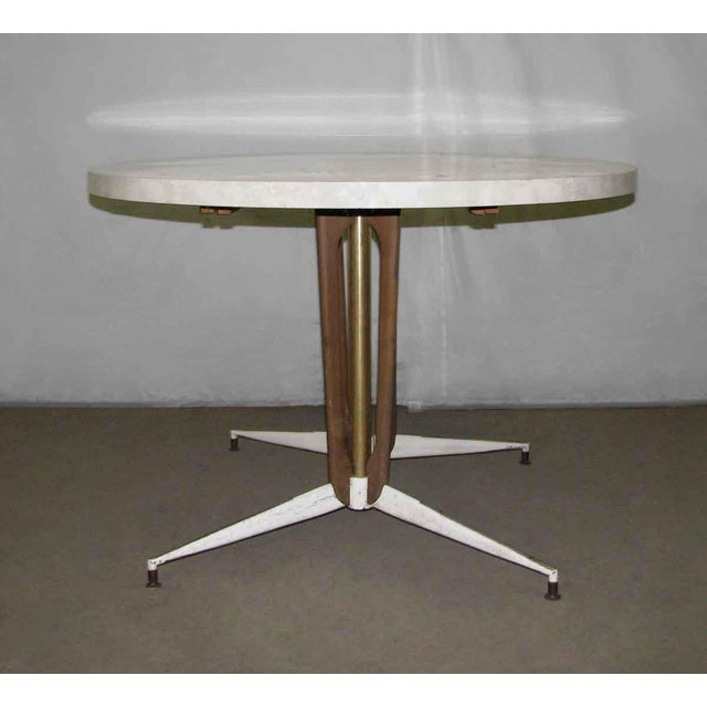 1950s Vintage Round White Table For Sale - Image 9 of 10