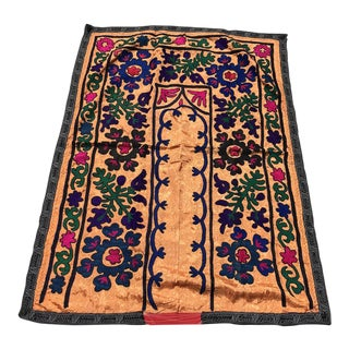 Orange Silk and Cotton Suzani Tapestry For Sale