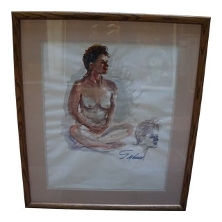 Framed Impressionism Water-Color Painting of a Seated Nude For Sale