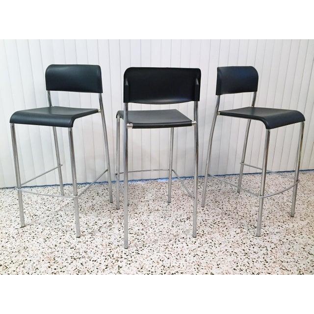 Modern Italian Chrome Bar Stools - Set of 3 For Sale - Image 3 of 13
