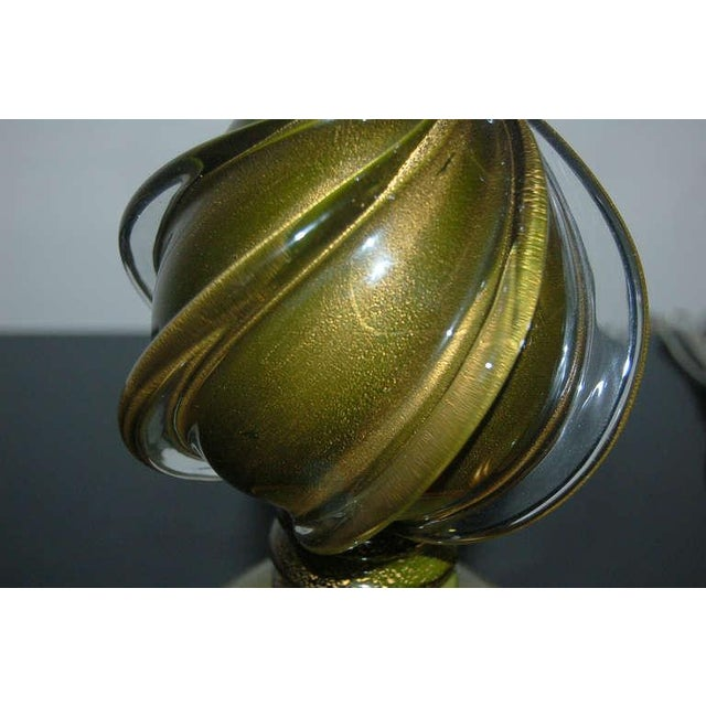 Marbro Murano Glass Table Lamps Green Gold For Sale In Little Rock - Image 6 of 9