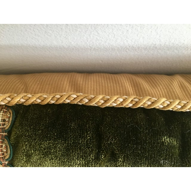 1990s Vintage Traditional Forest Green Velvet Lumbar Pillow With Abusson Tapestry Panel For Sale - Image 5 of 6