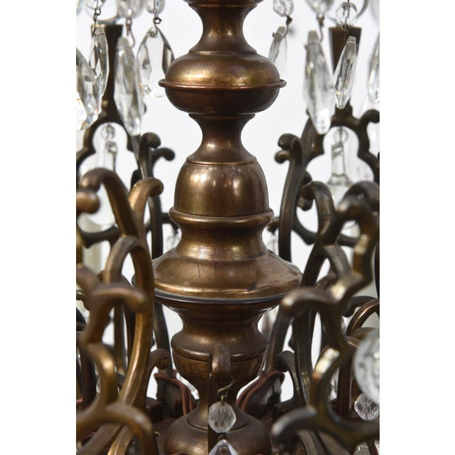 Baroque Bohemian Bronze and Crystal Eight Light Chandelier For Sale - Image 3 of 6
