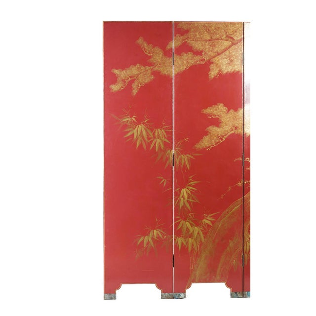 Double-Sided Leather Burgundy Red Wisteria Scene Room Divider Screen by Lawrence & Scott For Sale In Seattle - Image 6 of 13