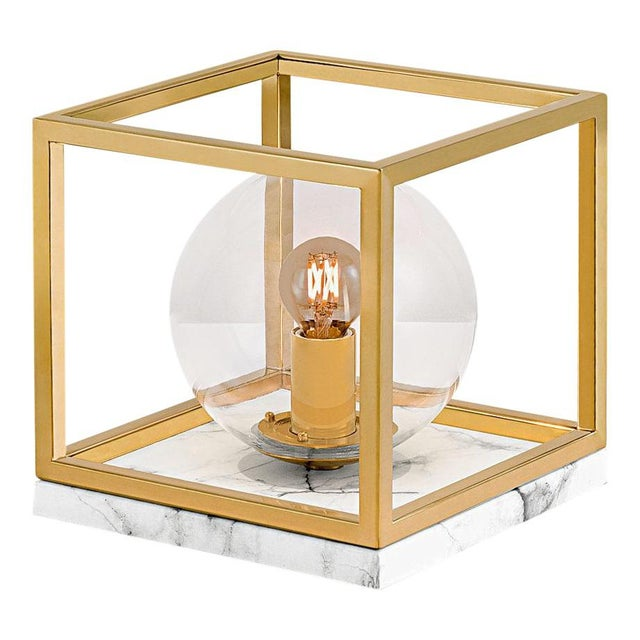 Paris Polished Brass Table Lamp on Faux Marble For Sale - Image 4 of 4