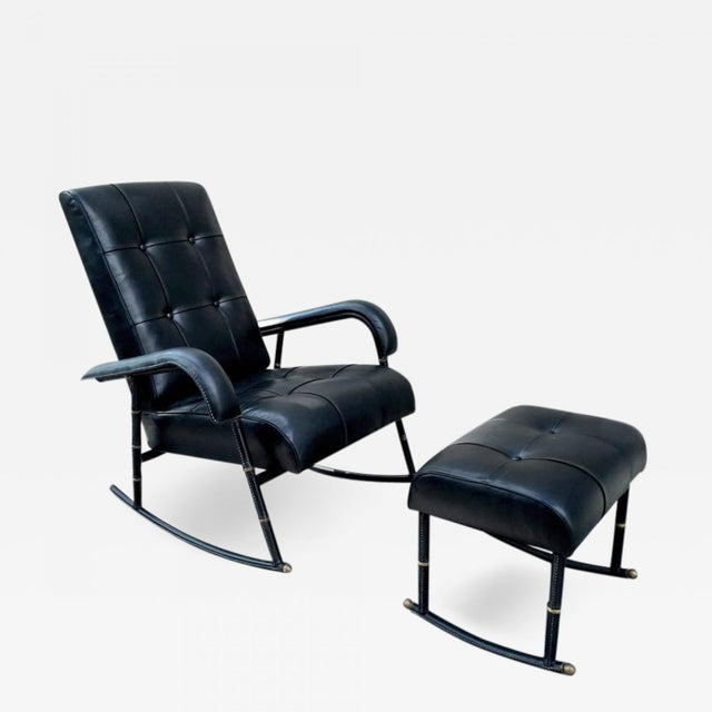 Jacques Adnet Rare Rocking Chair and Footstool in Black Hand-Stitched Leather For Sale - Image 9 of 9