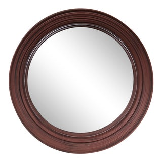 Contemporary Brick Red Convex Mirror
