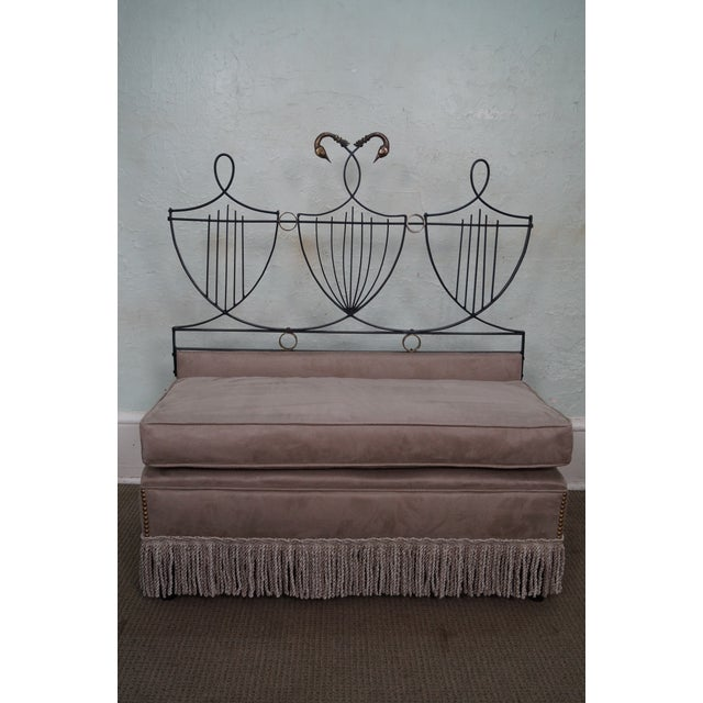 Vintage Italian Black Wrought Iron Lyre Back Settees - A Pair For Sale - Image 7 of 10