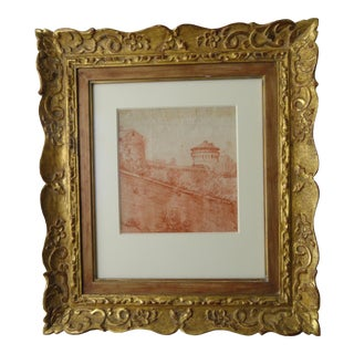 18th Century Antique Red Chalk Pastoral Scene Framed Drawing For Sale