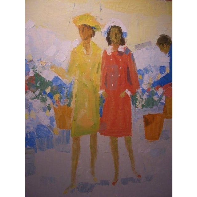 Mid-Century Modern Oil on Canvas by W.R. Barrel For Sale - Image 3 of 5