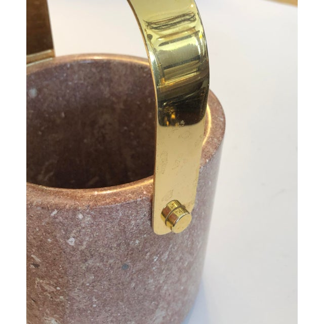 Contemporary Mid-Century Heavy Solid Marble & Brass Ice Bucket For Sale - Image 3 of 9