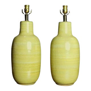 Vibrant Yellow Ceramic Table Lamps by Design Technics, 1960s - A Pair