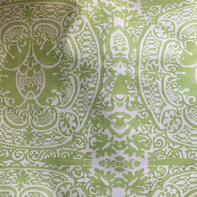 2010s Quadrille Veneto Hand-Printed Lime Linen Fabric For Sale - Image 5 of 7