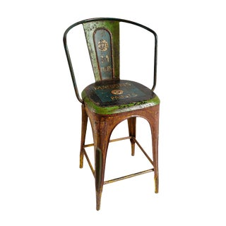 Industrial India Metal Painted Bar Stool For Sale
