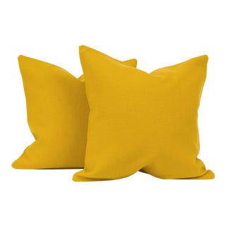 Mustard Mid-Century Throw Pillow Cover (Pair) For Sale