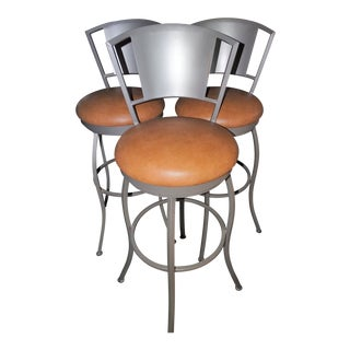 Custom Built Swivel Padded Bar Stools - Set of 3 For Sale