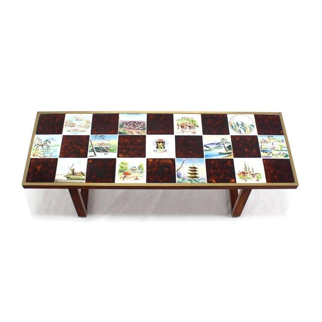 Mid Century Modern Checker Style Tile Top Coffee Table in Brass Frame For Sale - Image 4 of 6