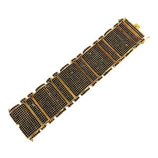 1980s Wide Black Crystal Gold Plated Bracelet For Sale