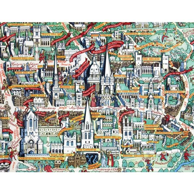 Colourfully detailed pictorial map of Oxford University including the local colleges and historical figures associated...