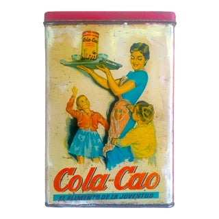 "Vintage 1950's Rare Mid Century Spain "" Cola - Cao "" Lithograph Print Advertising Tin Metal Box For Sale"