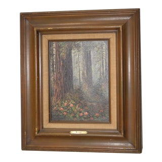 California Redwood Forest Oil Painting by Paul Moon C.1977 For Sale