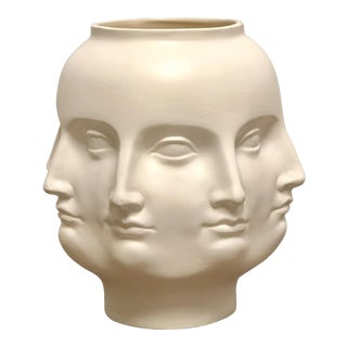 Perpetual Face Dora Maar Style Whiter Ceramic Vessel Vase For Sale