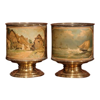 Pair of 19th Century French Hand-Painted Brass Cache Pots With Zinc Liner
