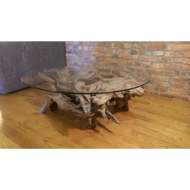 Driftwood Glass Top Coffee Table - Image 5 of 7