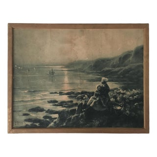 Vintage French Wooden Framed Print For Sale