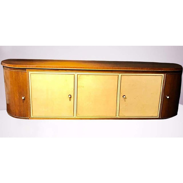 1940s French Art Deco Sideboard or Credenza With Parchment Front, Monumental For Sale - Image 5 of 13