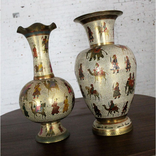 Persian Etched & Enameled Cast Brass Vases - A Pair - Image 3 of 10