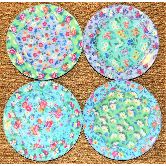 Shabby Chic Set of 4 Vintage Floral Chintz Plates For Sale - Image 3 of 6