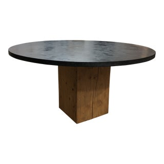 Custom Round Concrete Top and Wood Base Table For Sale