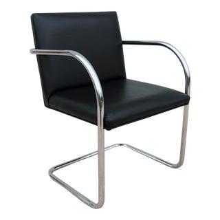 Mid-Century Modern Style Gordon Mies Van Der Rohe Brno Tubular Chair in Black Leather For Sale